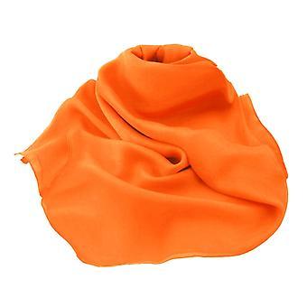 Eternal Collection Plain Orange Oblong Pure Silk Chiffon Scarf