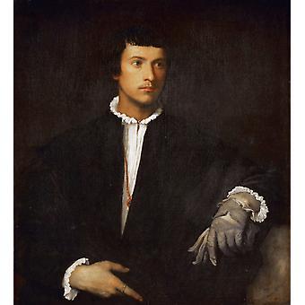 رجل مع قفاز، تيتيان، 50x45cm