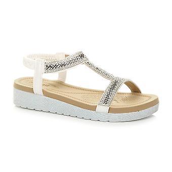 Ajvani 妇女 低楔式鞋跟平形迪曼特 t-酒吧吊带凉鞋