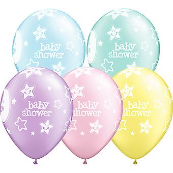 Qualatex 11 Inch Pastel Baby douche manen & sterren veelkleurige ballon (Pack van 6)