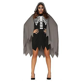 Womens Caped skelett Halloween maskeraddräkter kostym