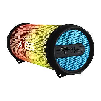 Axess Mini Portable Hi-Fi Bluetooth Speaker with Dancing LED Lights - Blue