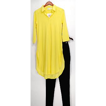Women with Control Set Tunic & Pintuck Leggings Yellow A273193