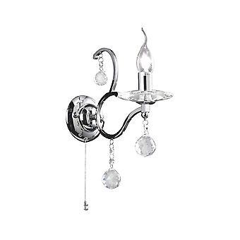 Diyas Zinta wand lamp schakelde 1 licht gepolijst chroom/kristal