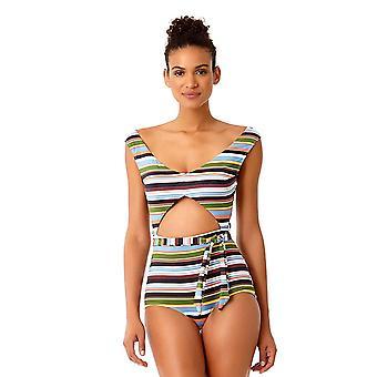 Anne Cole Studio Women's Stripe Over The Shoulder Sexy Plunge, Multi, Tamaño 8.0