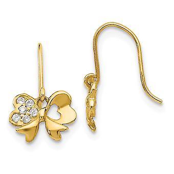 14k Yellow Gold Madi K Cubic Zirconia for boys or girls Bow Dangle Earrings