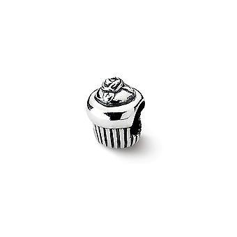 925 Sterling Silver Polerade reflektioner Cupcake Pärla Charm Hänge Halsband Smycken Gåvor för kvinnor