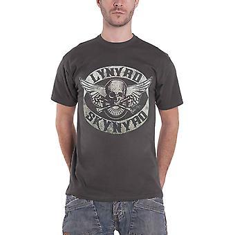 Lynyrd Skynyrd T Shirt Biker Patch Skull Band Logo new Official Mens Grey