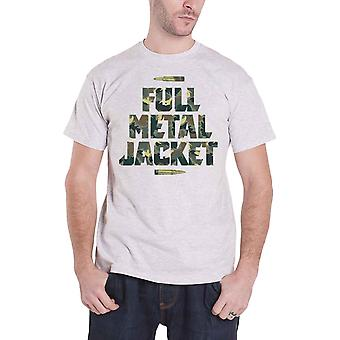 Full Metal Jacket T Shirt Camo Bullets Movie logo new Official Mens Grey
