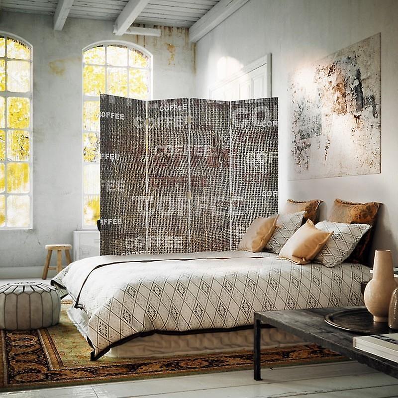Diviseur de chambre, 4 panneaux, toile, café