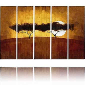 Five Part Picture On Canvas, Pentaptych, Type C, Two Trees