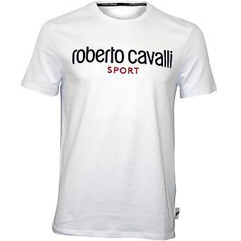 Roberto Cavalli Sport logo Crewneck-T-paita, valkoinen