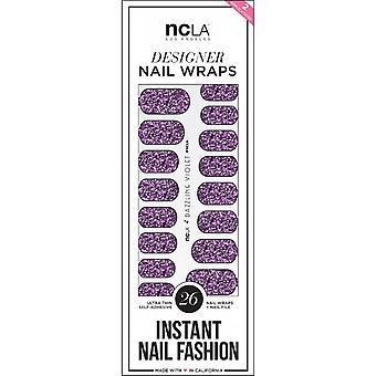 ncLA Los Angeles Instant Nail Fashion Designer Nail Wraps - Dazzling Violet Glitter (26 Wraps)