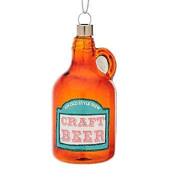Single Premium Glass Beer Bottle Christmas Tree Bauble Decoration