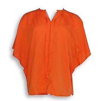 C. wonder vrouwen ' s top flutter mouw sjaal w/kwastjes oranje A289699