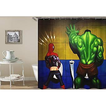 Spiderman And The Hulk Taking A Piss Shower Curtain
