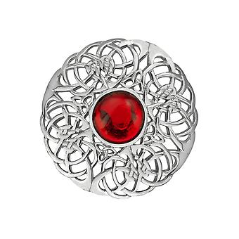 Celtic Eternity Knotwork Pin Clasp Garment Clothes Fibulae Brooch Large - Ruby Colour Stone