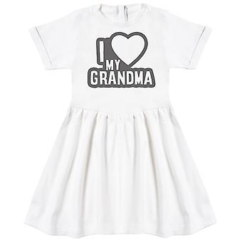 I Love My Grandma Black Outline Baby Dress