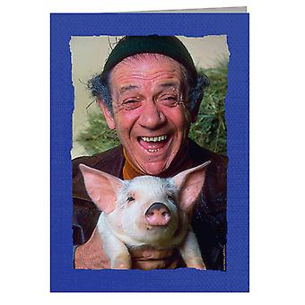 TV Times Sid James Holding A Pig Greeting Card