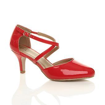 Ajvani Womens Mid hög klack strappy crossover bröllop kväll sandaler skor
