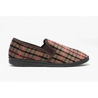 Sleepers Mens Samson Check Velour Twin Gusset Slippers