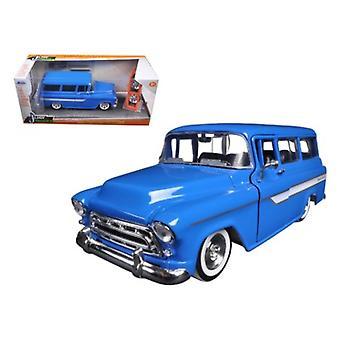 1957 Chevrolet Suburban Blue 'Just Trucks' avec roues supplémentaires 1/24 Modèle diecast par Jada