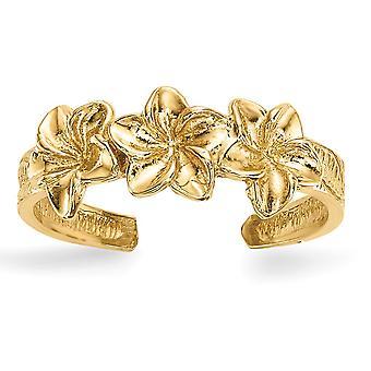 14k flores pulidas del dedo del pie joyería regalos para las mujeres - 1.5 gramos