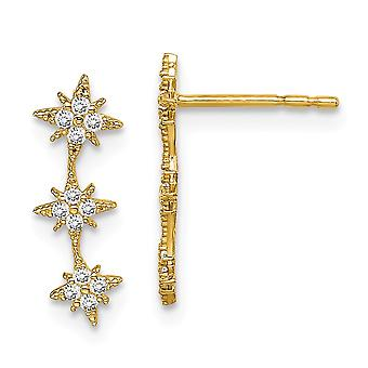 14k Madi K CZ Cubic Zirconia Simulated Diamond Star Drop Bar Dangle Post Earrings Jewelry Gifts for Women