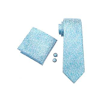 JSS Turquoise Blue Floral Patterned Pocket Square, Cufflink And Wedding Tie Set