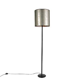 QAZQA Vintage Floor Lamp Black with 40cm Taupe Shade - Simplo