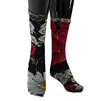 Dolce & Gabbana Multicolor Floral Roses Nylon Socks