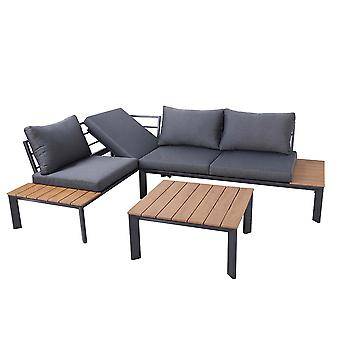 Charles Bentley Polywood Lounge Set mit Liegesitz Multi verwenden Holz schwarz stilvolle Outdoor 8cm dunkelgrau Kissen