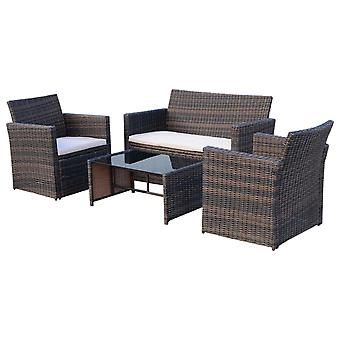 Outsunny 4 Pcs PE Rattan Garden Sofa Set w/ 2 Chairs Sofa Glass Top Table Padded Seats Brown