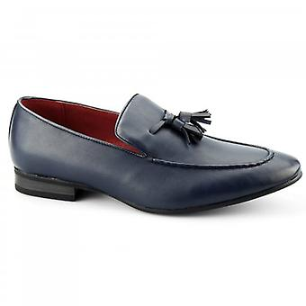 Giovanni Luigi Mens Faux Leather Tassel Loafers Blue
