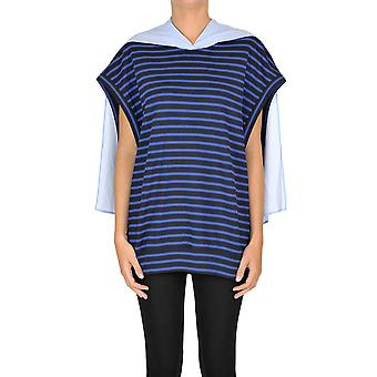 Yohji Yamamoto Ezgl123011 Women's Blue Cotton Top