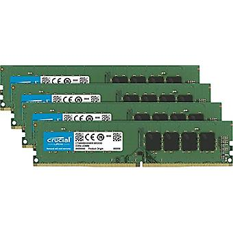 Crucial CT4K8G4DFS8266 32 GB Memory Kit, 8 GB x 4, DDR4, 2666 MT/s, PC4-21300, SR x8, DIMM, 288-Pin, Green