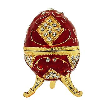 TOC Red Faberge-Style Egg Trinket Jewellery Box