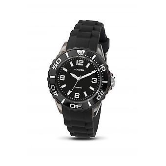 Sekonda Kids Round Black 50M Dial Black Silicone Strap Watch 3390