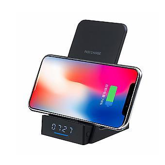 10w qi trådlös laddare telefonhållare klocka stativ display för för smart telefon för iPhone för Samsung Xiaomi