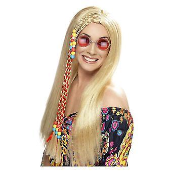 Womens blond Hippy Party peruk maskeraddräkter tillbehör