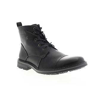 Robert Wayne Jefferson  Mens Black Leather Lace Up Casual Dress Boots