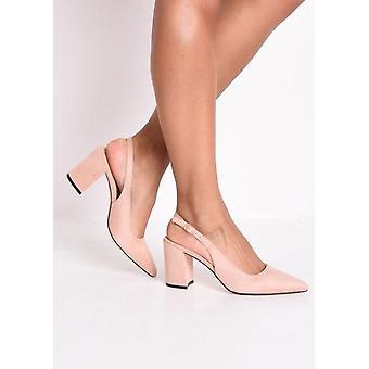 Slingback Suede Hof blok Heeled Sandals roze