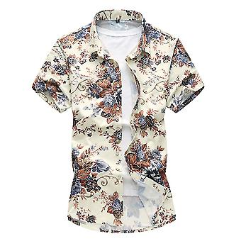Allthemen الرجال & apos;ق الأزهار الصيف الأكمام القصيرة القطن مزيج قميص