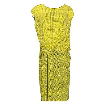 H by Halston Dress Printed Jet Set Jersey Cap Sleeve Yellow A287142 PTC