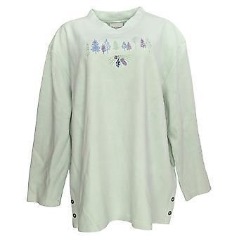 Artisans Women's Plus Fleece V Neck Sweatshirt Green