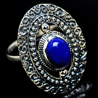 Lapis Lazuli Ring Size 8 (925 Sterling Silver)  - Handmade Boho Vintage Jewelry RING7380