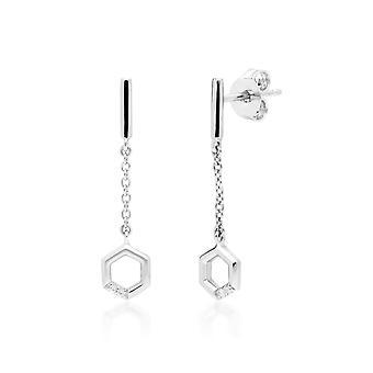 Diamond Pave Hexagon Dangle Drop Earrings in 9ct White Gold 162E0275019