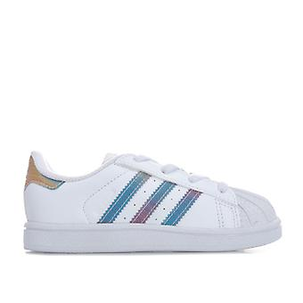 Girl's adidas Originals Kleinkind schillernden Superstar Trainer in weiß