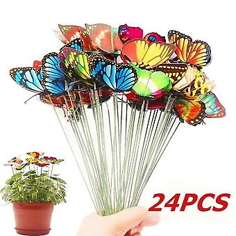 Bunch Of Butterflies Garden Yard Planter - Colorful Whimsical Butterfly Stakes Decoration Outdoor Decor Flower Pot