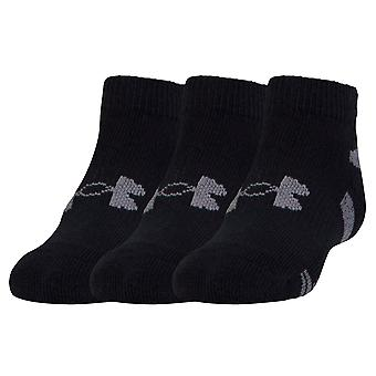 Under Armour HeatGear Low Cut 3 Pack Kids Fitness Exercise Socks Black